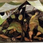 שרגא ווייל - חיילים באוהל - 1958